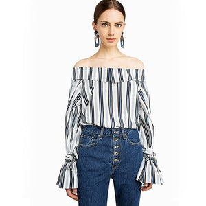 2018 Summer Fashion Women Striped Off Shoulder Shirts Ladies Minimalistic Long Sleeves Ruffles Casual Blouse Tops Clothing
