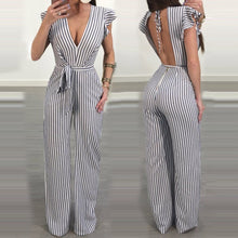 2018 Summer Fashion Women Striped Plus Size Jumpsuit backless Female Rompers Evening Party Clubwear One-piece Jumpsuit CYM&40