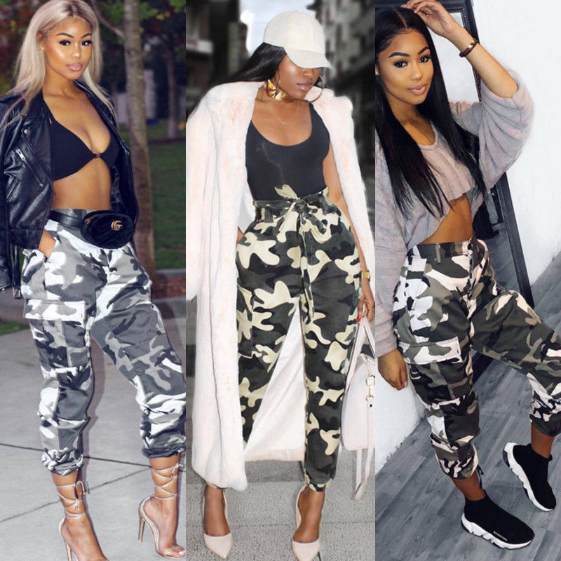 cb25cec554e1c 2018 Summer New Style Fashion Women Camo Cargo Trousers Casual Pants  Military Army Combat Camouflage Jeans