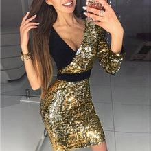 2018 Summer Women's Apparel Half Shoulder Splicing Deep V-Neck Mini Sequins Patchwork Leisure Personality Black Gold Dress EY11
