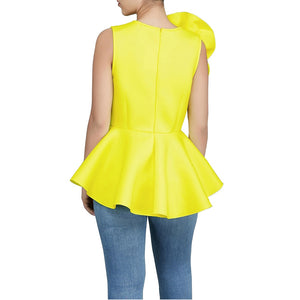 2018 Women Fashion Summer O-neck Sleeveless Ruffles Flouncing Asymmetrical Hem Slim Tops Blouse