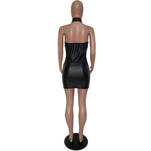 2018 Women Black Leather Dress Halter Open Back Backless Sexy Dress Club Wear Night Out Tight Mini Bodycon Party Dresses Vestido
