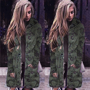 2018 Women Camouflage Long Coat Fashion Drawstring Zipper Slim Hooded Jacket Spring Autumn Long Sleeve Hip Hop Camo Outwear