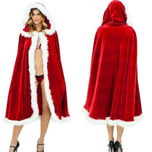 2018 Women Girls Christmas Cloak Cosplay Costume Santa Claus Red Velvet Long Cloak Capes Christmas Party Dress Supplies