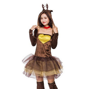 2018 Women Reindeer Christmas Outfit Sexy Animal Adult Santa Claus Costume Cute Deer Tutu Dress XMAS Party Role Play Fancy Dress