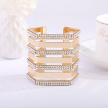 2018 new arrival cuff bangles geometric hyperbole big punk Shiny plated rhinestone bracelet Jewelry products sell like hot cakes