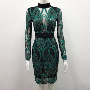 2018 new black and green long sleeve high neck lace mesh Sequins sexy women party  dress wholesale