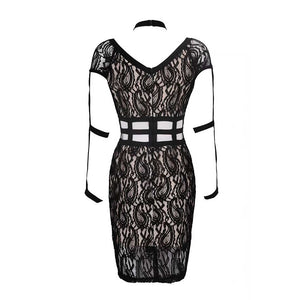 2018 new sexy women's black lace dress hanging neck hollow bodycon bandage dress sexy mini party dress Vestidos wholesale