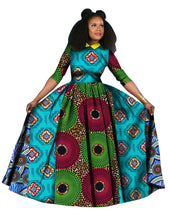 2018 summer Dress Dashiki Batik Print African dresses for women Long Sleeves Pure Cotton turn-down Collar Dress Plus Size  WY842