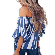 2018 women summer blouse Cross border sexy zebra print printed slash neck striped horn sleeve female chiffon shirt sexy tops