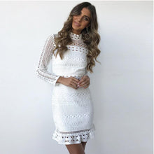 2018 women white casual lace dress autumn long sleeve elegant patchwork mini party dress sexy bodycon short female clothes