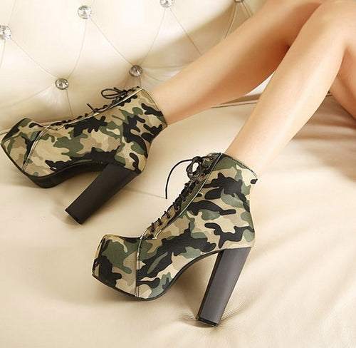 2018New Arrivals Camouflage Cloth Bare Boots Lace-up Waterproof Platform Fashion Female Boots High-Heeled Square Toe Boots 12cm