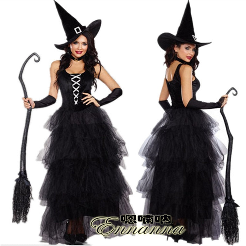 67b4af2a37f 2018new luxury black witch dress Halloween host theatrical ...