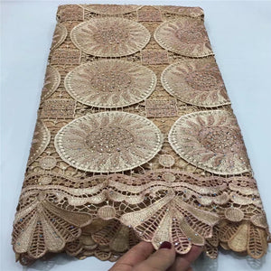 2019 Latest Guipure Lace Cord Lace Embroiderey French African Cord Lace Fabric High Quality Nigeria Lace Fabric For Wedding EL93