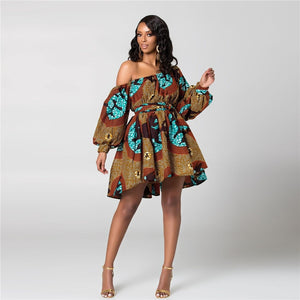 2019 New Fashion African Dresses for Women Summer Tilting Shoulder Two Wear Dashiki Africa Style Print Rich Bazin Dashiki Top