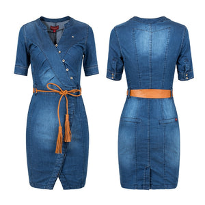 2019 New Summer Hot Sell Ladies' Sexy Tight Women Denim Jeans Dress Plus Size Clothing S-3XL