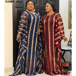 4 Colors African Dresses for Women Plus Size Dashiki Full Sequined African Clothes Abaya Dubai Muslim Dress Africa Boubou Robe