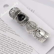 4PCS/Set Vintage Turkish Beach Punk Resin Beads Ring Set Ethnic Carved Silver Plated Boho Midi Finger Ring Knuckle Charm anelli