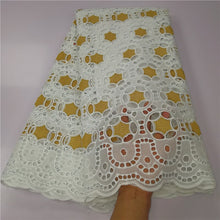 5 yard Swiss lace fabric 2019 latest heavy beaded embroidery African cotton fabrics Swiss voile lace popular Dubai style 13L0823