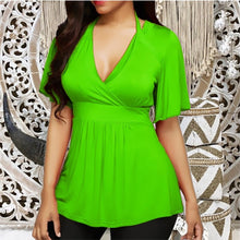 5XL Plus Size Women Solid T Shirt Short Sleeve Short Sexy V-neck Shirts Casual Tops Tight Waist Slim T-Shirts Casual Top 2019