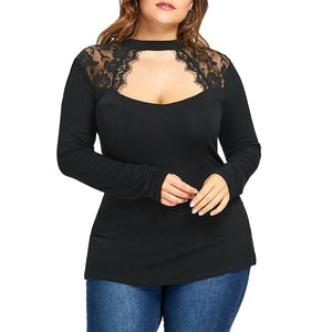 6XL Long Sleeve Elegant T Shirt Women Sexy Lace Hollow Out Black Tops Plus Size Casual Streetwear Autumn haut femme Tee D30