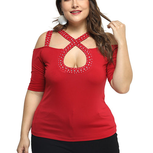 6XL Plus Size Off Shoulder T-shirt Women Sexy Hot Drilling Hollow Out Ladies Tops Spring Slim Fit Tee Shirt camisa feminina D30