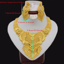 Adixyn Luxury Necklace/Earrings Jewelry Set For Women Girls Gold Color Elegant Arab/Ethiopian Bridal Wedding/Party Gifts