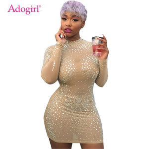 Adogirl Floral Crystal Sheer Mesh Bodycon Club Dress O Neck Long Sleeve Sheath Mini Party Dresses Top Quality Female Outfits