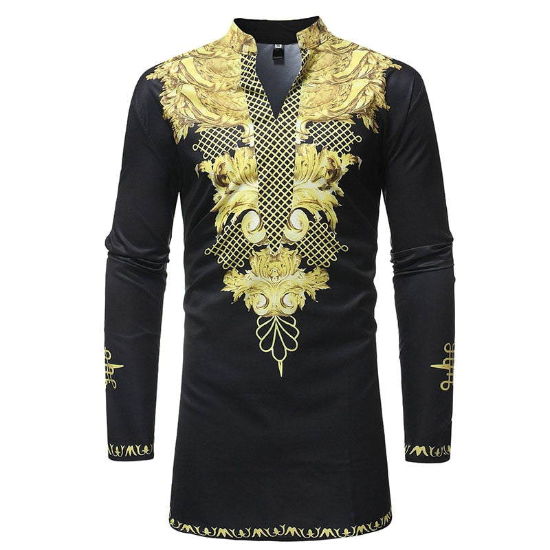 Adult Men African Dashiki Print Black Golden Long Shirt Stand High Collar Tunic With Full Sleeves Wedding Clothing Suit Wear