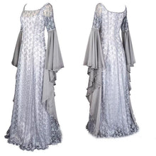 Adult Women Medieval Renaissance Princess Costume White Wedding Lace Maxi Dress Elegant Lace Wide Sleeves Gown Robe For Ladies