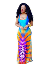 Africa Bazin Riche Dresses Polyester Rushed New Clothing 2017 Gradient Color Digital Printing Nightclub Sexy Skirt Dress H9101