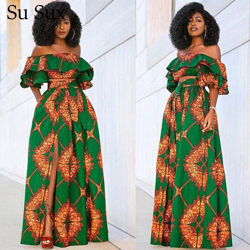 African Dresses For Women Dashiki Print Two Piece Set African Clothes Ruffles Crop Top&Long Skirt Suit Tracksuit Vestidos 2020
