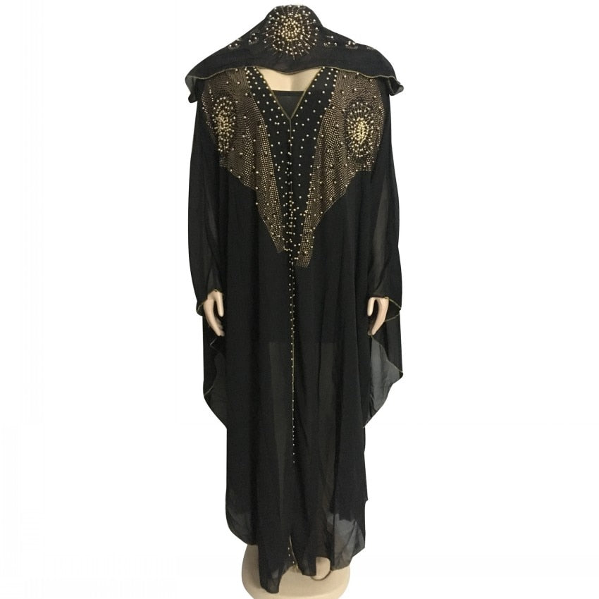 African Dresses For Women Muslim Long Dress New AFrican Design Bazin Chiffon Long Stick Diamond SLeeve Dashiki Dress For Lady