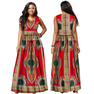 African Dresses for Women 2019 Ankle Length Dashiki African Prints Dresses Bazin Rich Sleeveless Evening Dresses Ankara Dresses