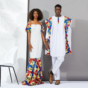 African Dresses for women long Couples clothes new style 2019 Fashion Ankara Print Wax cotton material traditional men clothes