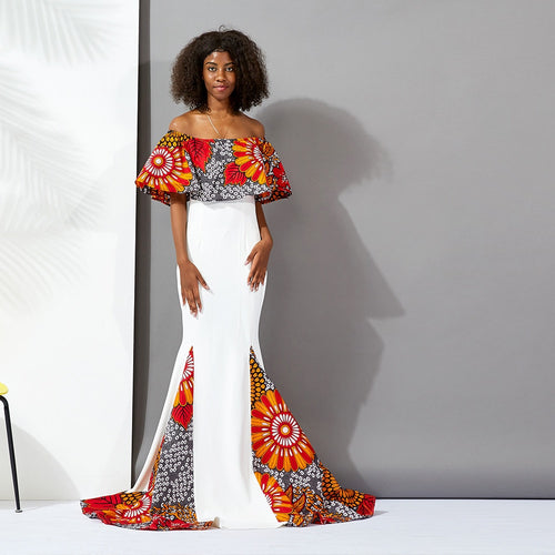 African  Dresses for women one shoulder maxi dress Couples clothes Fashion Ankara Print Wax cotton traditional African clothes