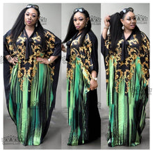 African Fashion Bat Sleeve Sexy Plus Size Chiffon Long Dress with Scaf for Women XF09#