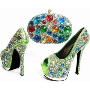 African Italian Shoes and Bag Set Decorated with Rhinestone Nigerian Shoes and Bag Set for Wedding African Shoes and Bag Sets