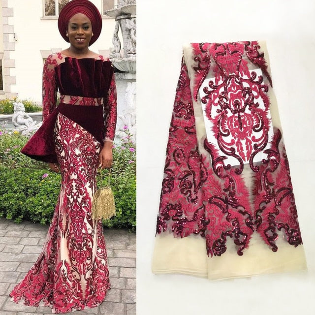 African Lace Fabric 2018 Embroidered Nigerian Laces Fabric High Quality French Tulle Lace Fabric for Women,5Yards.JL003 Red