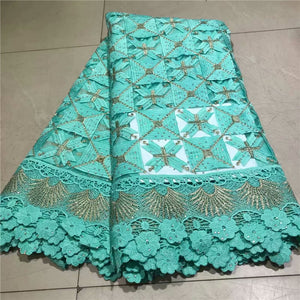African Lace Fabric on sale High Quality african cord lace latest 2019 guipure lace fabric 5Yards Nigerian Lace Fabric