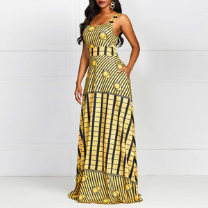 African Maxi Dress Women Boho Ethnic Fashion Print Sleeveless Robe Swing Summer Elegant Casual Yellow Party Long Dresses Female