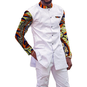 African Print Men's Set Dashiki Fashion Tops With Pants 2 Pieces Set Stand Collar Shirt+Trouser White Sets Men's Outfit