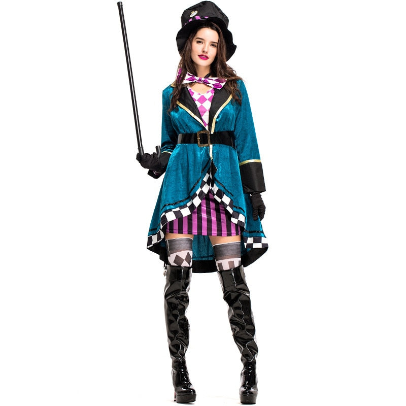7304acc665 Alice in Wonderland Sexy Mad Hatter Costumes Women Halloween Party Outfit  Fancy Dress Mad Hatter Costume Adults Women Fantasias