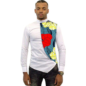 Asymmetrical design men dashiki shirt ankara male tops fashion bright wax patchwork t shirt african clothing customized
