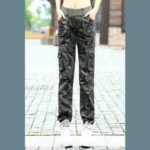 Autumn Winter 2018 women workout military camouflage beam harem trousers overalls jeans Ladies girls  Multi-pocket cargo pants
