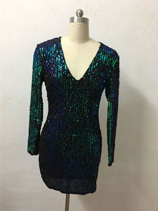 Autumn Winter Long Sleeve Gold Sequin Dress 2017 Sexy V-Neck Sheath Beaded Sparkly Party Dresses Nightclub Christmas Vestidos