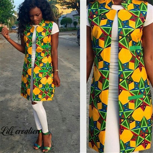 BAIBAZIN 2018 African Fashion New European and American Printing Women's Sleeveless Long Suit Vest Coat Female