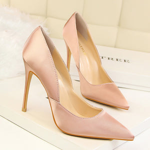 BIGTREE Spring Autumn fashion Simple women pumps Silk Shallow mouth Pointed Sexy Hollow 11 CM Fine high heels shoes