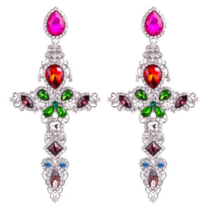 Baroque Gold Color Big Cross Earrings For Women Large Long Earrings Jewelry Brincos 2017 Rhinestones Dangle Earrings Bijoux 2018