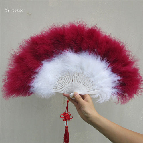 Beautiful Wine red high quality fluffy feather hand fan dance stage show props wedding party 1pcs Goose feather fan decoration